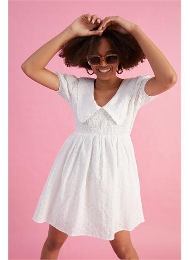Z Giyim Kadın  Beyaz  Beli Lastikli Mini Elbise Beyaz